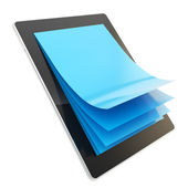 Pad electronic device with paper pages as screen — Stock Photo