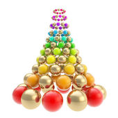 Futuristic christmas tree made of spheres isolated on white — Stock Photo