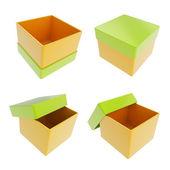 Set of four gift boxes isolated on white — Stock Photo