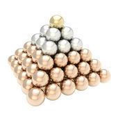 Stapel piramide van glanzende bollen geïsoleerd op wit — Stockfoto