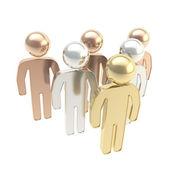 Six symbolic human figures as hierarchy metaphor — Stock Photo