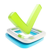 Yes check tick emblem over checkbox isolated — Stock Photo