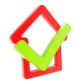 Emblema de la casa marcada con el icono de garrapata sí dentro — Foto de Stock