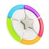 Five sector star emblem diagram isolated — Stock Photo