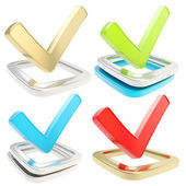 Yes check tick emblem over checkbox, set of four — Stock Photo