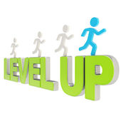 Human running symbolic figures over the words Level Up — Stock Photo
