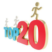 Human running symbolic figures over the words Top Twenty — Stock Photo