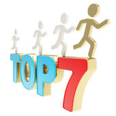 Human running symbolic figures over the words Top Seven — Stock Photo