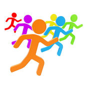 Group of symbolic human figures running for the leader — Stock Photo