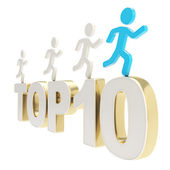 Human running symbolic figures over the words Top Ten — Stock Photo