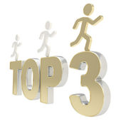 Human running symbolic figures over the words Top Three — Stock Photo