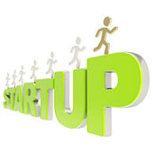 Human running symbolic figures over the word Startup — Stock Photo