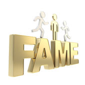 Human running symbolic figures over the word Fame — Stock Photo