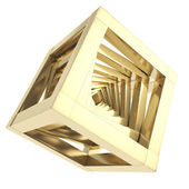 Abstract golden cube composition isolated — Stock Photo