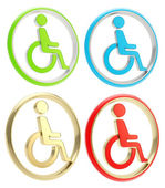 Disabled handicapped person icon emblem — Stock Photo