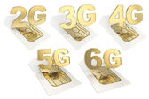2g, 3g, 4g, 5g, 6g circuit microchip SIM card — Stock Photo