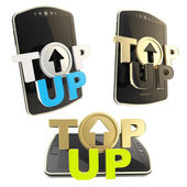 Top-up emblem icon over smart mobile phone — Stock Photo