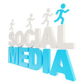 Human running symbolic figures over the words Social Media — Stock Photo