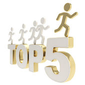 Human running symbolic figures over the words Top Five — Stock Photo