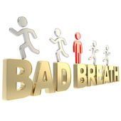 Human running symbolic figures over the words Bad Breath — Stock Photo
