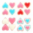 Set of colorful glossy plastic hearts isolated — Stock Photo #8931798
