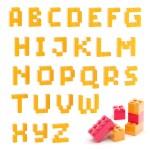 Alphabet set made of toy blocks isolated — Stock Photo #9940029