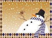 Paysage d'hiver avec un bonhomme de neige — Vecteur