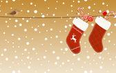 Christmas socks hanged on a clothesline — Stock Vector