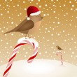 Retro vector Christmas card with birds sitting on candy canes — Imagen vectorial