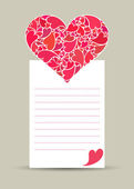 Valentine card with hearth made of small hearts — Stock Photo