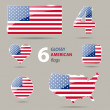 Collection of glossy american flags in different shapes — Stock Vector