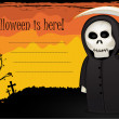 Halloween card with Death with scythe — Stock Photo