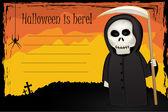 Halloween card with Death with scythe — Stock Photo