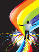 Abstract rainbow wave background with standing pose of young boy — Stock Vector