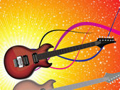 Abstract colorful shiny red guitar with sparkles background — Stock Vector