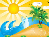 Abstract vector summer holiday background — Stock Vector