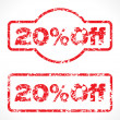 Twenty percent  off grunge stamp - Stock Vector