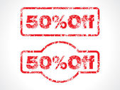 Fifty percent off grunge stamp — Stock Vector