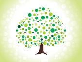 Abstract dotted green tree — Stock Vector