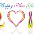 Happy new year 2011 with colorful wave & heart concept — Stockvector