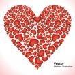 Abstract glossy red hearts set - Stock Vector