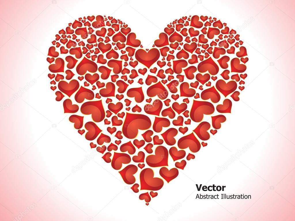 Abstract glossy red hearts set vector illustration  — Векторная иллюстрация #16817079