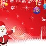 Abstract christmas background with christmas ball & santa — Stock Vector