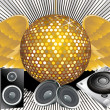Stock Vector: Absract music theme with disco ball & shilloutes