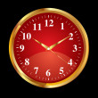 Royalty-Free Stock Vector Image: Abstract red clock icon with golden border