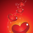 Abstract glossy red heart — Imagen vectorial