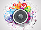 Abstract colorful sound with grunge — Stock Vector