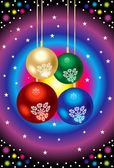 Abstracte kleurrijke glanzende kerstballen — Stockvector