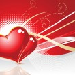 Abstract red heart with wave — Vector de stock