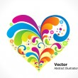 Abstract colorful floral heart — Stock Vector